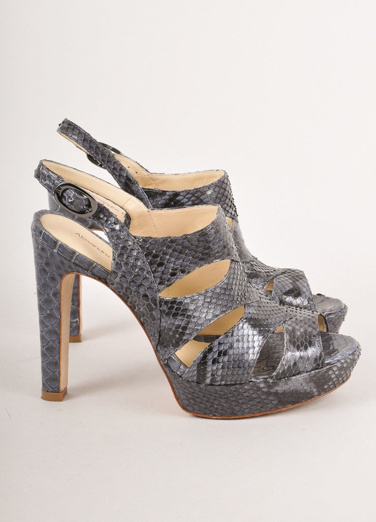 Black and Blue Snakeskin Sandal Heels