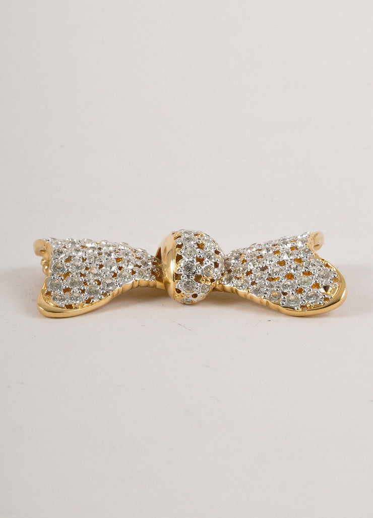 Gold and Silver Valentino Rhinestone Embellished Bow Pin
