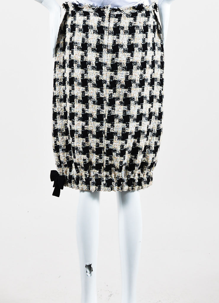 Cream and Black Chanel Checkered Tweed Bow Bubble Skirt Backview