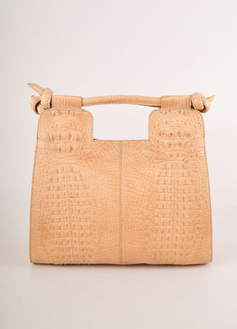 "Kathryn Allen New Tan Crocodile Leather Structured ""Hampton"" Tote Bag Frontview"