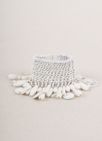 White Wide Matte Coated Curb Chain and Bead Bracelet