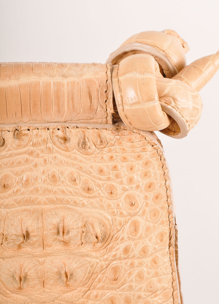 "Kathryn Allen New Tan Crocodile Leather Structured ""Hampton"" Tote Bag Detail 2"