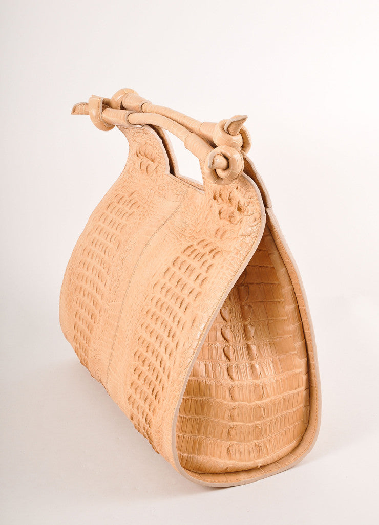 "Kathryn Allen New Tan Crocodile Leather Structured ""Hampton"" Tote Bag Sideview"
