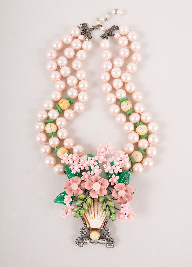 Pink and Green Faux Pearl Flower Basket Large Pendant Necklace