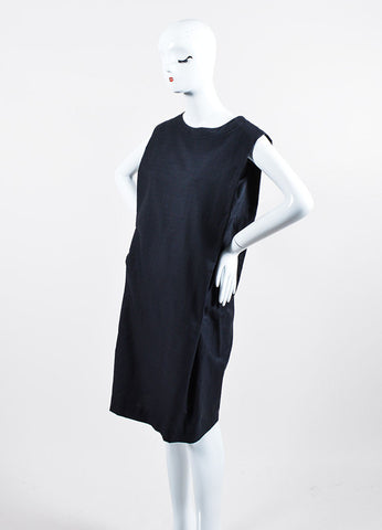 Navy Blue Hermes Woven Cotton and Silk Knee Length Sleeveless Shift Dress Sideview