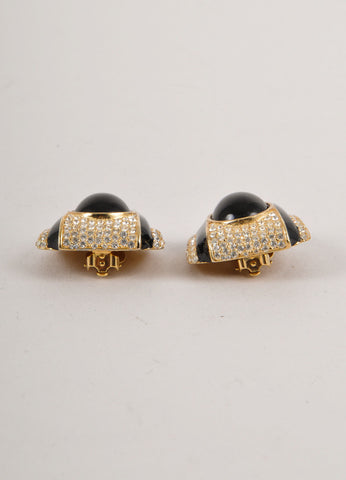 Black, Gold, and Silver Rhinestone Embellished Earrings