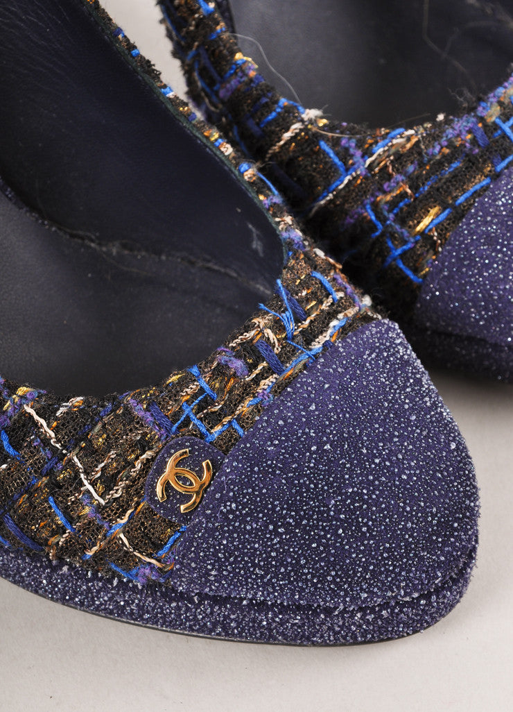 "Blue and Gold Woven ""CC"" Cap Toe Slingback Pumps"