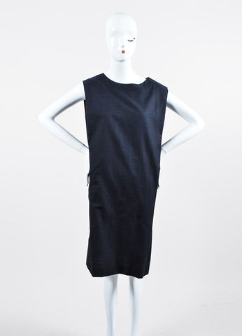 Navy Blue Hermes Woven Cotton and Silk Knee Length Sleeveless Shift Dress Frontview