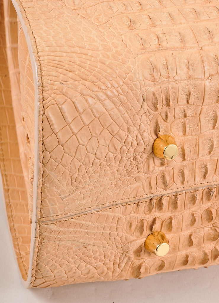 "Kathryn Allen New Tan Crocodile Leather Structured ""Hampton"" Tote Bag Detail"
