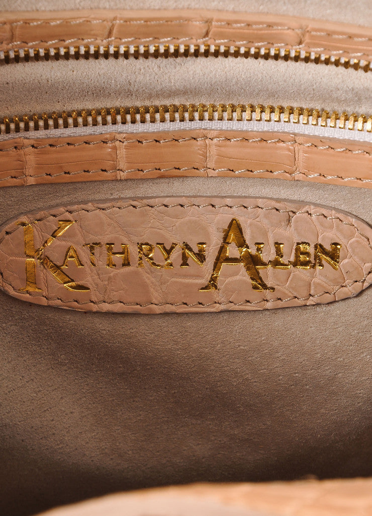 "Kathryn Allen New Tan Crocodile Leather Structured ""Hampton"" Tote Bag Brand"