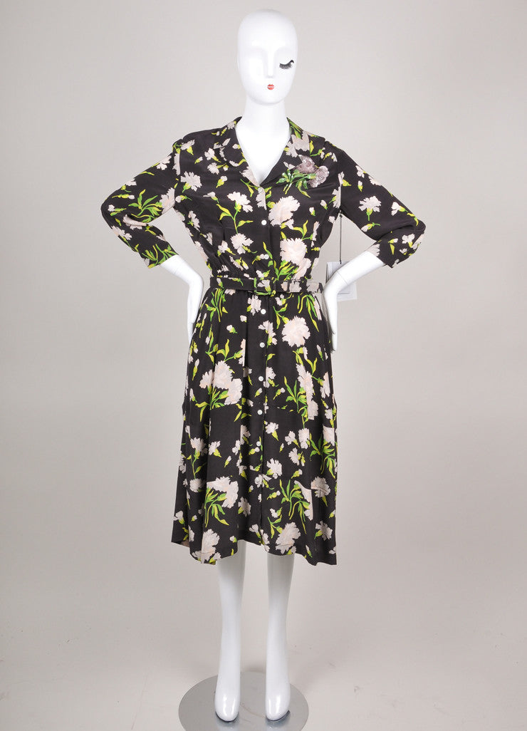 New With Tags Black, Grey, and Green Floral Print Belted Three Quarter Length Sleeve Shirt Dress