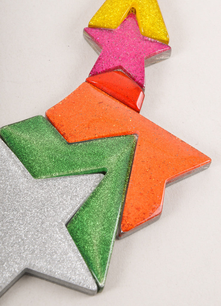 New With Tags Multicolor Glittery Pieced Star Statement Necklace