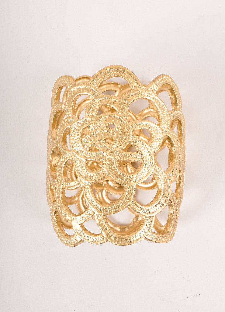 "Gold Toned ""Lace Collection"" Cuff Bracelet"