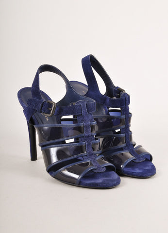 Navy Blue Suede and Clear Panel Sandal Heels