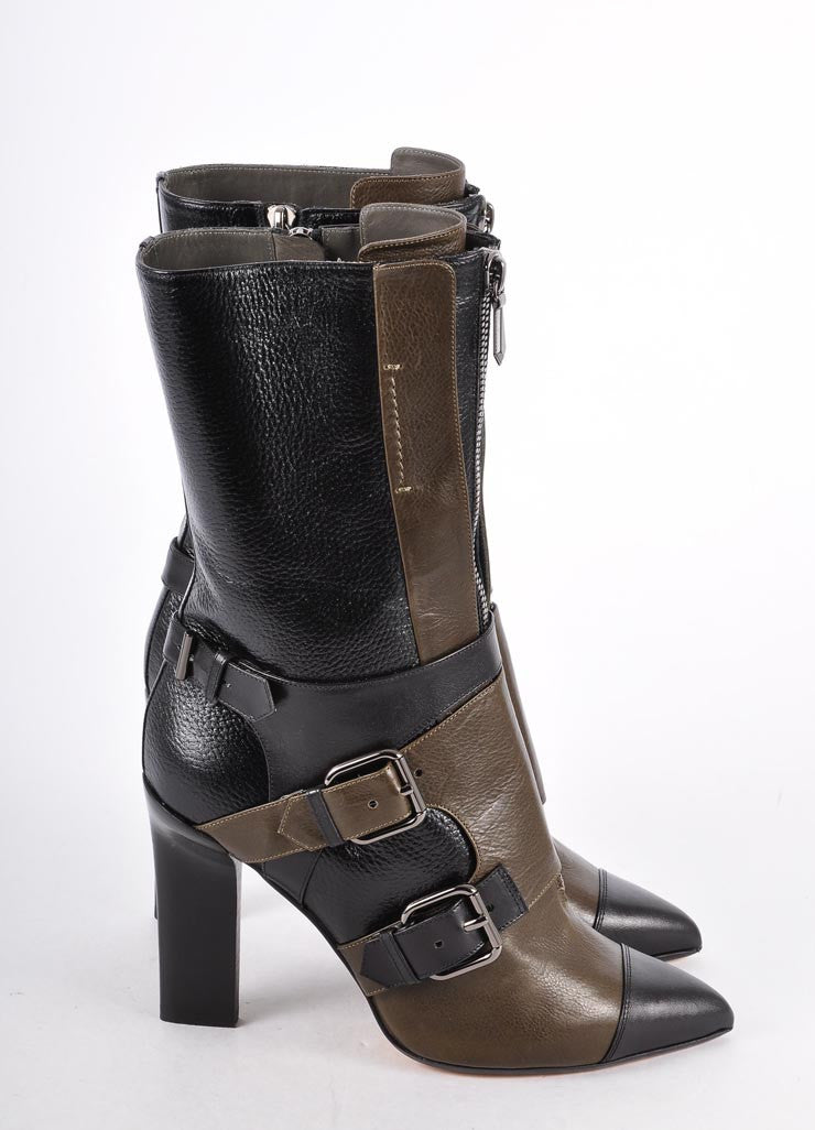 New In Box Buckle Detail Calf High Heeled Boots