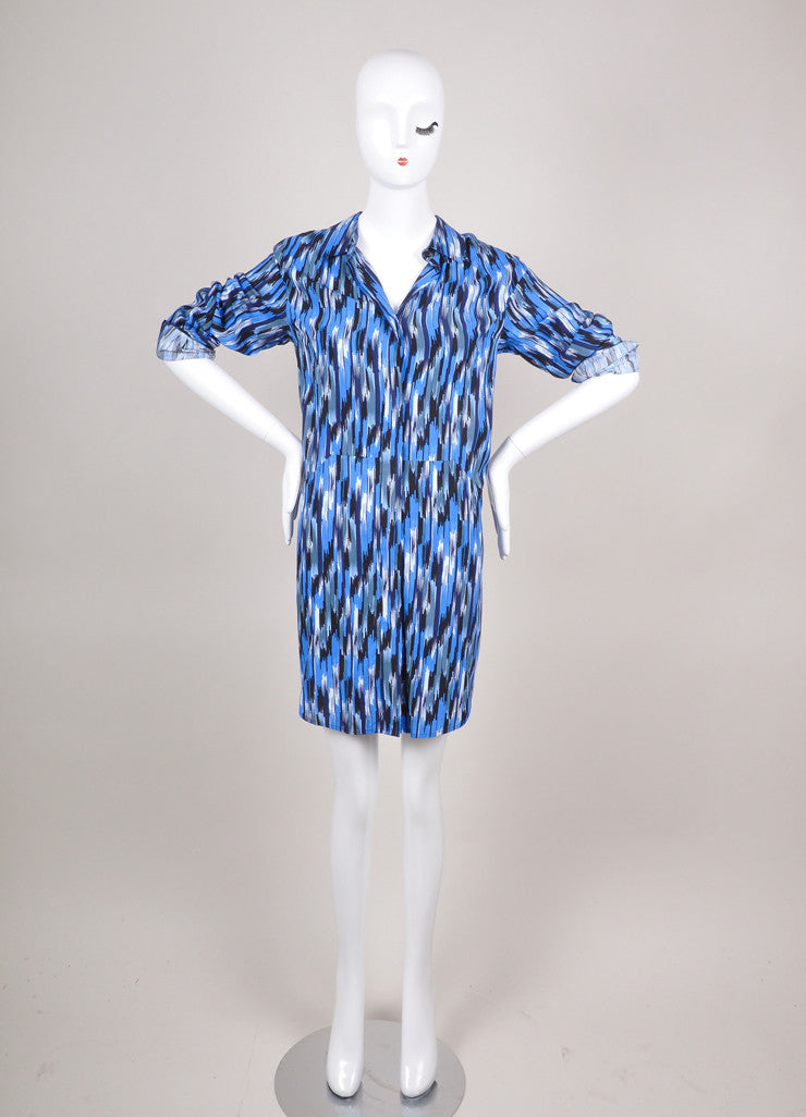 New Multicolor Blue Pattern Shirt Dress