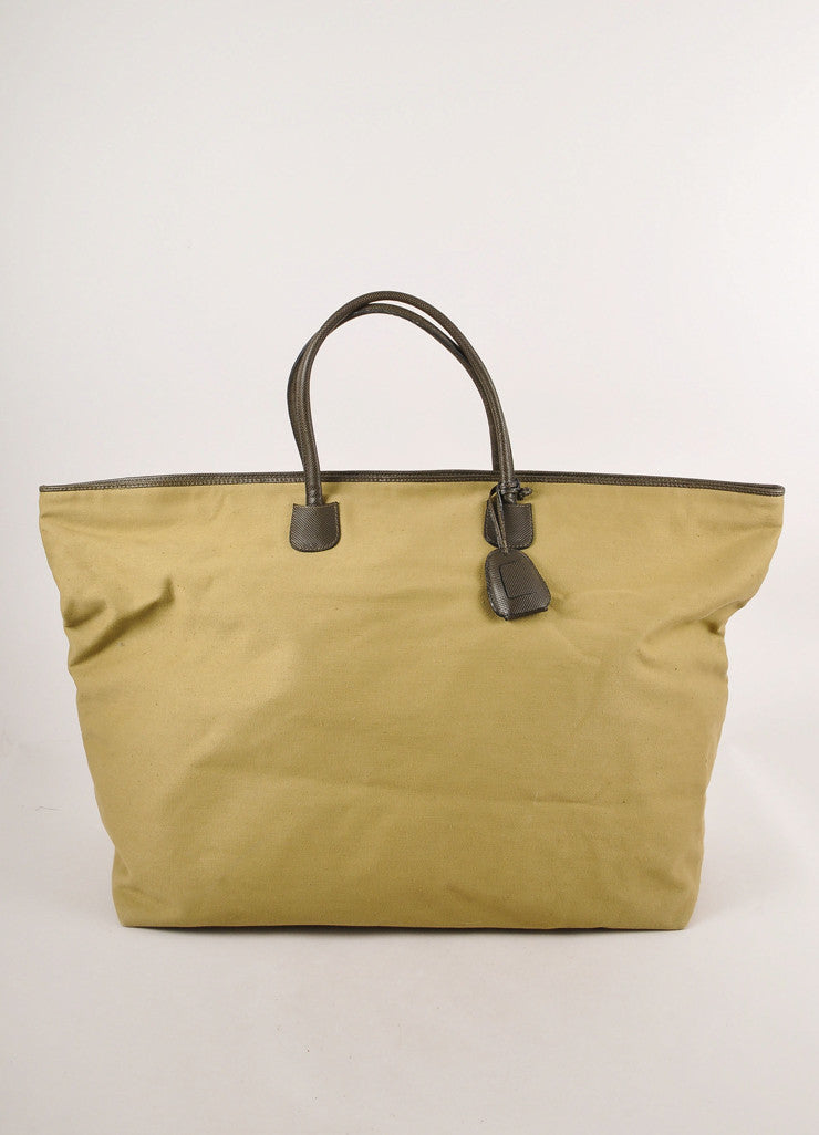 Olive Green Leather Trim Oversized Canvas Weekender Tote Bag