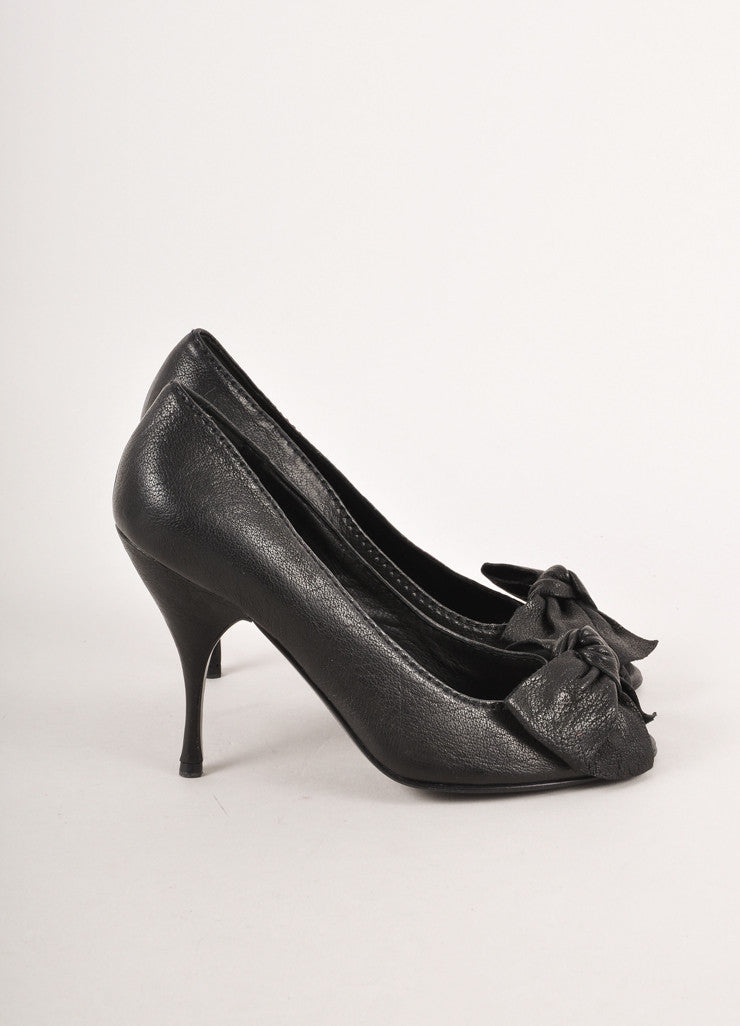 Black Leather Peep Toe Bow Pumps