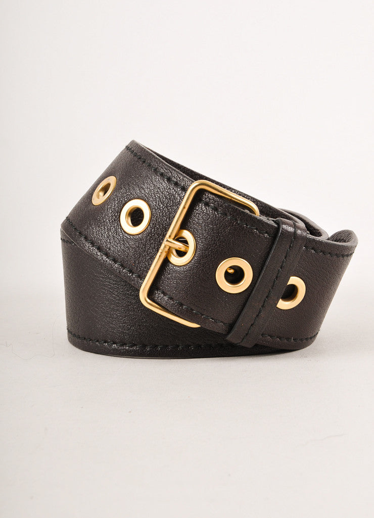 Black and Gold Toned Grommet Detail Buckled Leather Belt