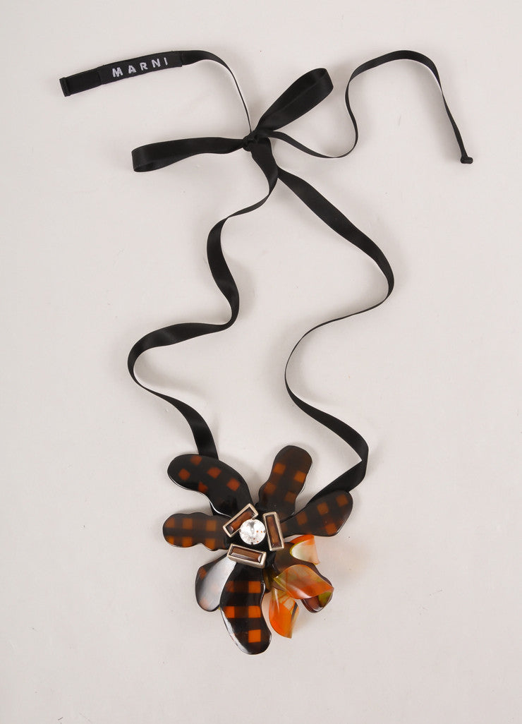 Black and Amber Floral Rhinestone Detail Tie Necklace