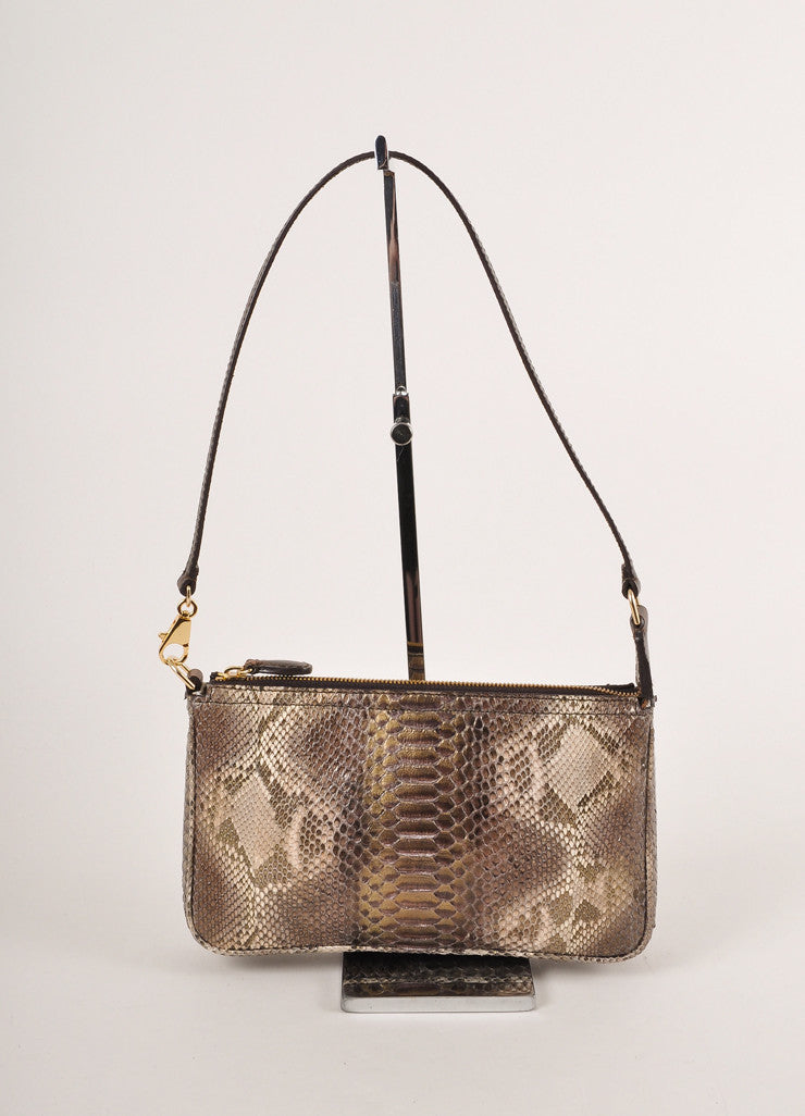 Kathryn Allen New With Tags Brown and Gold Leather Oversized Tote Bag with Pochette Pochette