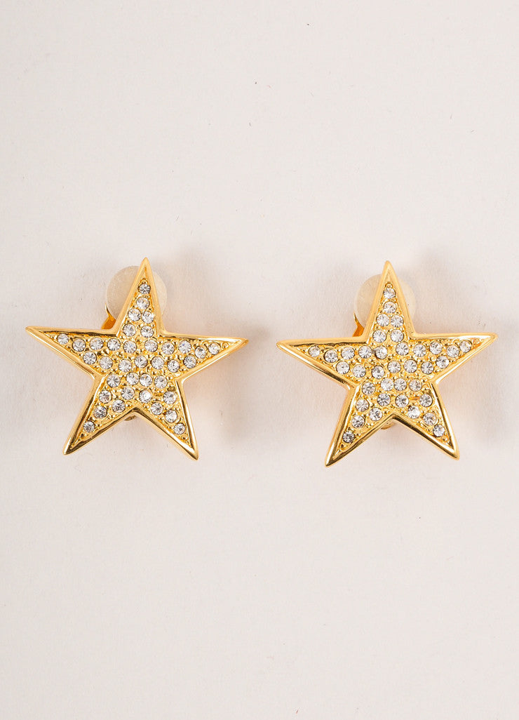 Joan Rivers Gold Toned and Clear Rhinestone Embellished Star Earrings Frontview
