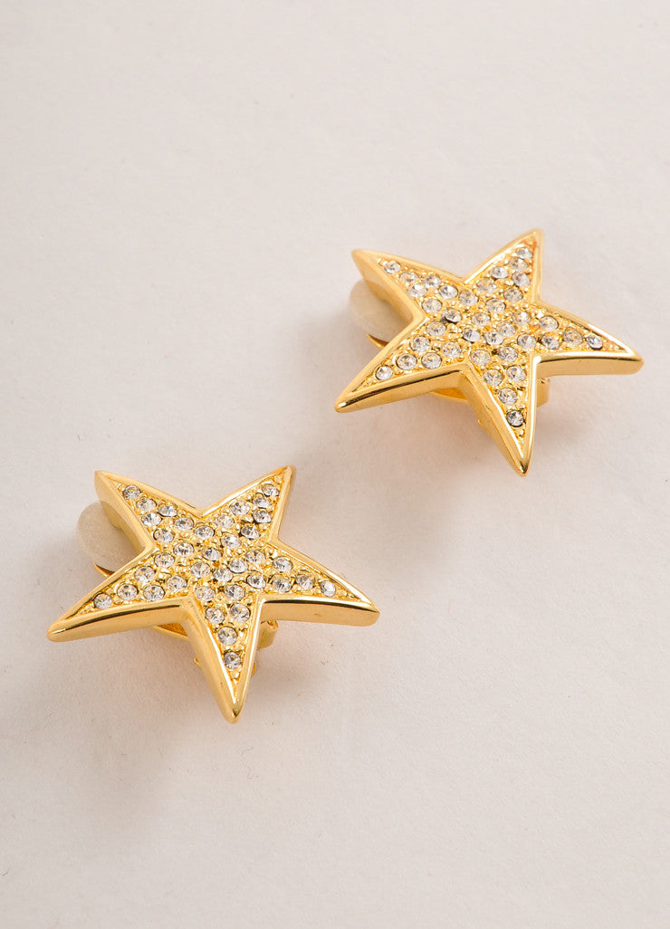 Joan Rivers Gold Toned and Clear Rhinestone Embellished Star Earrings Sideview