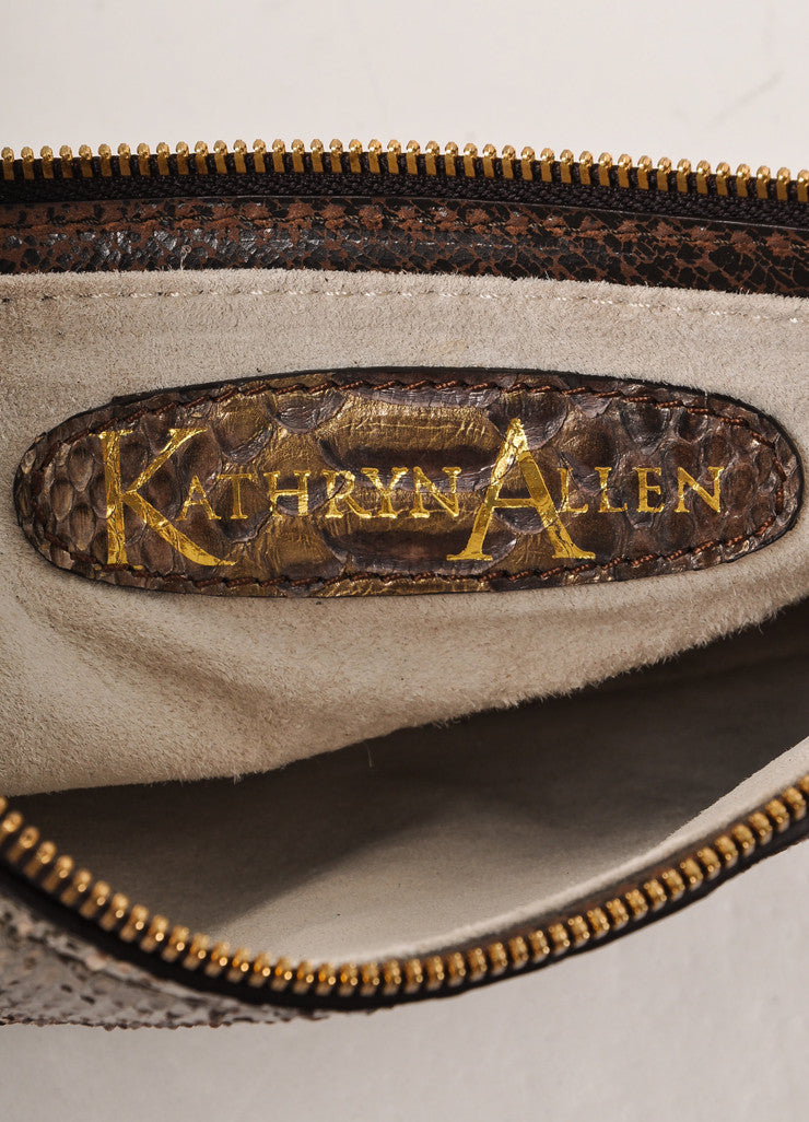 Kathryn Allen New With Tags Brown and Gold Leather Oversized Tote Bag with Pochette Pochette Brand
