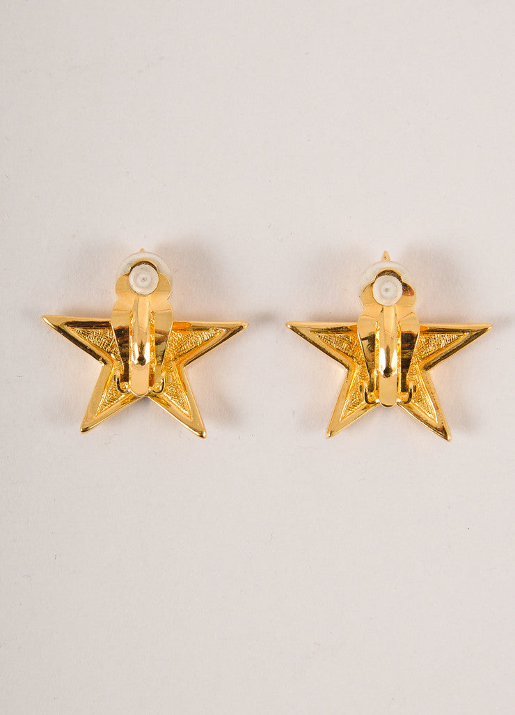 Joan Rivers Gold Toned and Clear Rhinestone Embellished Star Earrings Backview