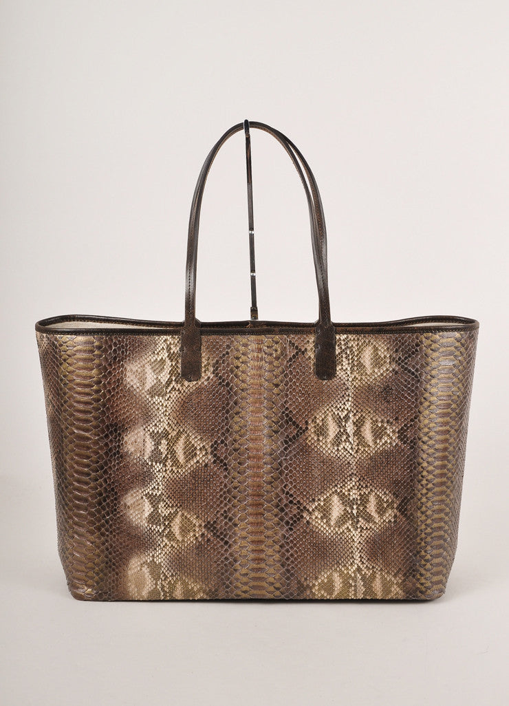 Kathryn Allen New With Tags Brown and Gold Leather Oversized Tote Bag with Pochette Frontview