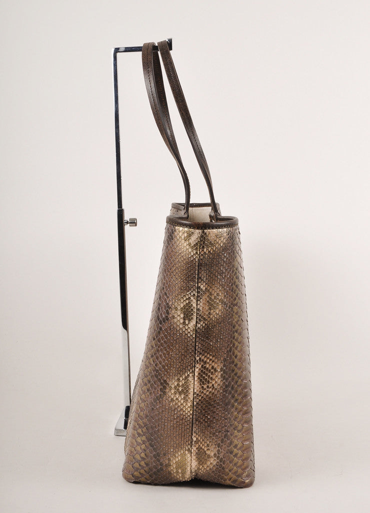 Kathryn Allen New With Tags Brown and Gold Leather Oversized Tote Bag with Pochette Sideview
