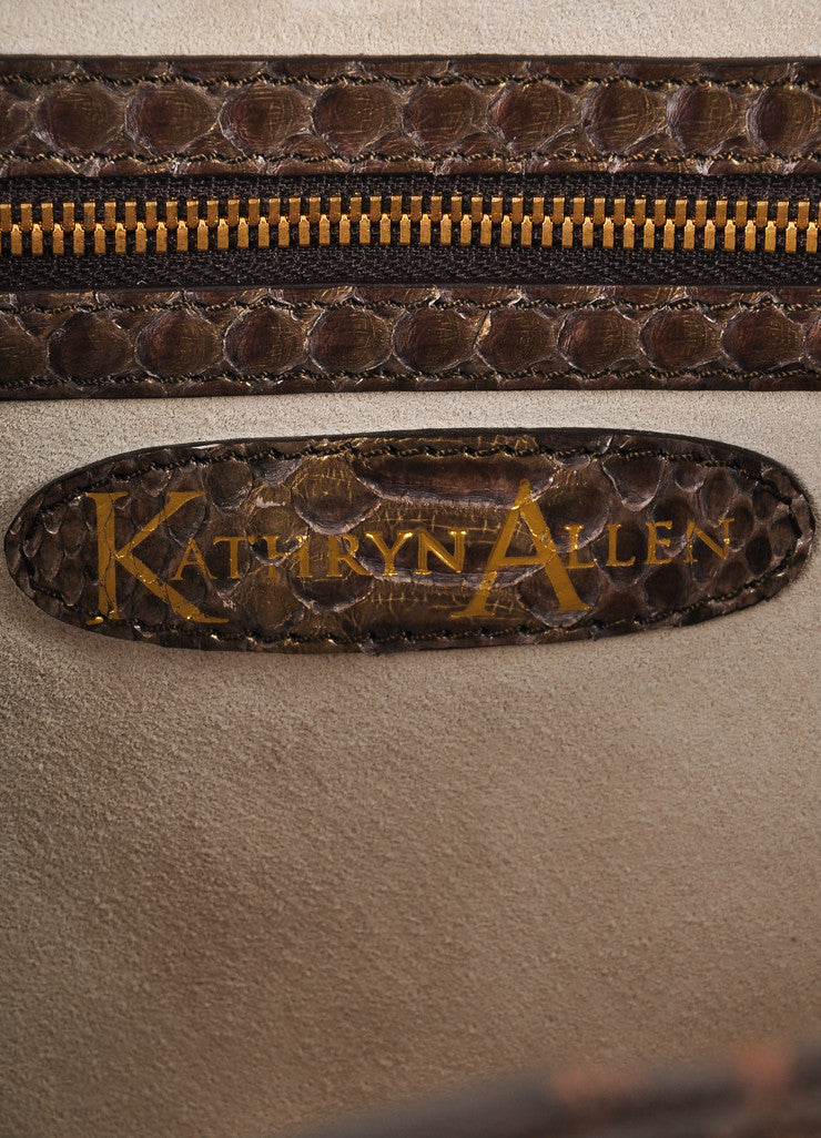 Kathryn Allen New With Tags Brown and Gold Leather Oversized Tote Bag with Pochette Brand