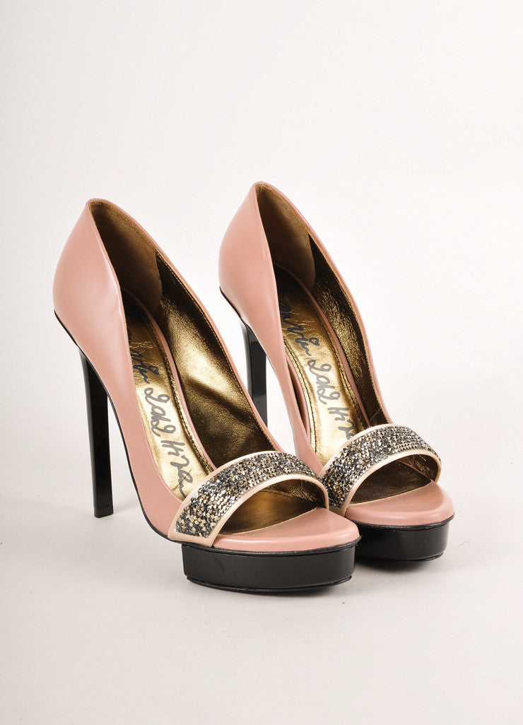 Pink, Black, and Grey Sparkle Strap Open Toe Leather Pumps