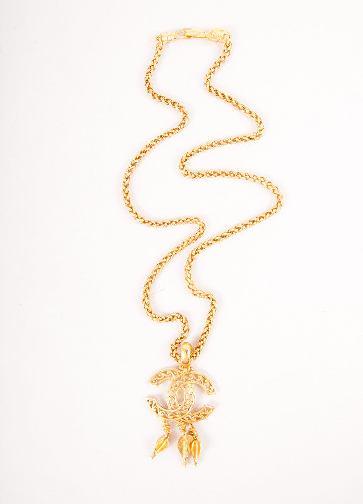 Gold Toned Chain Necklace with Hanging Embellishments