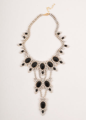 Black Stone and Rhinestone Handmade Statement Necklace