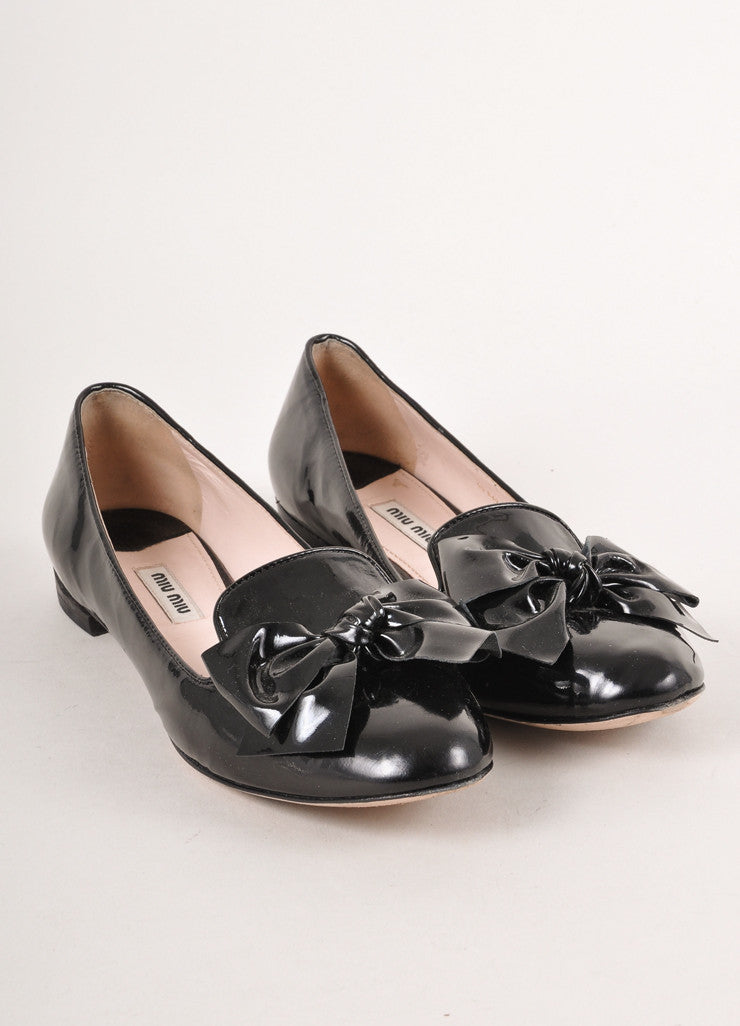 Black Patent Leather Bow Detail Loafer Flats