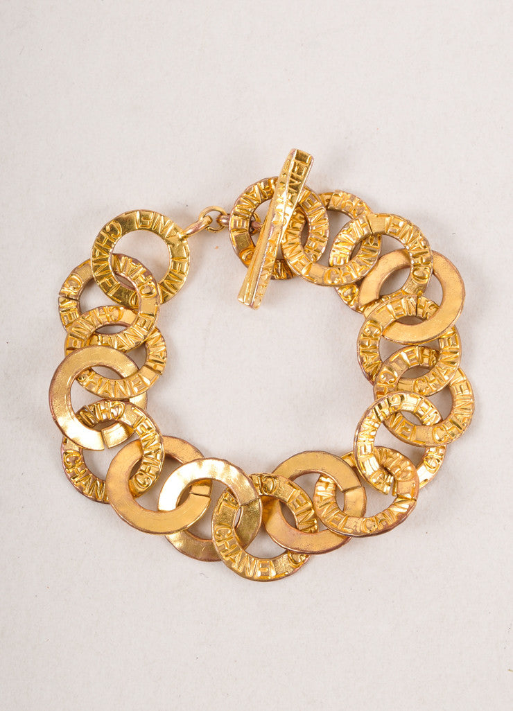 Gold Toned Chain Link Etched Bracelet