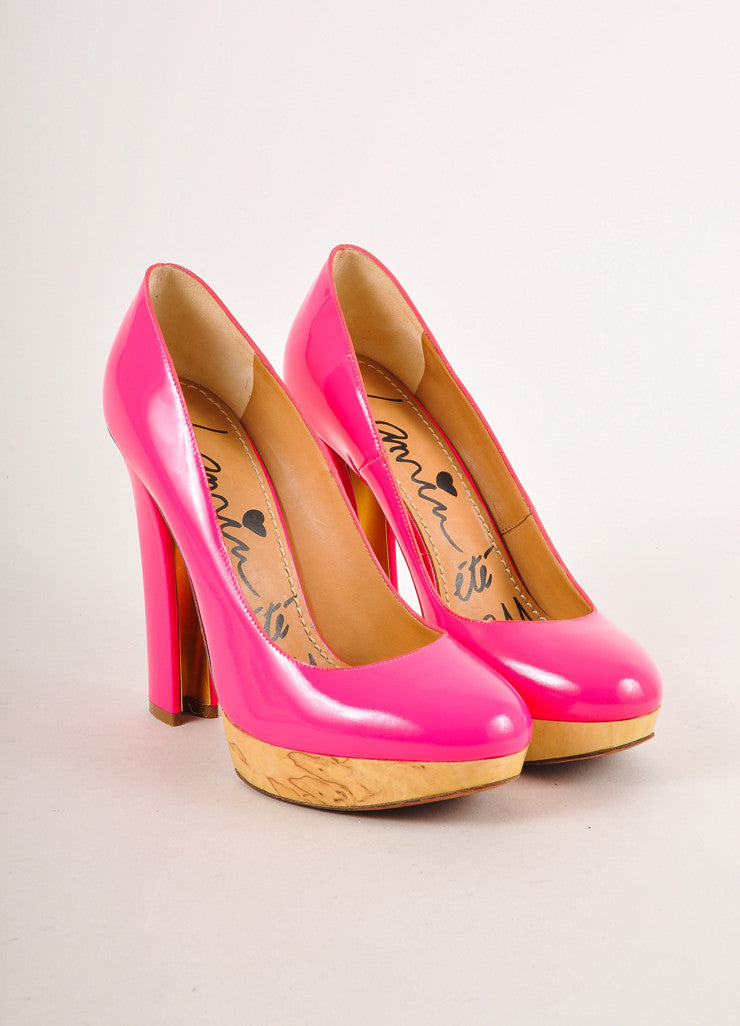 Neon Pink and Ash Wood Patent Leather Round Toe Pumps