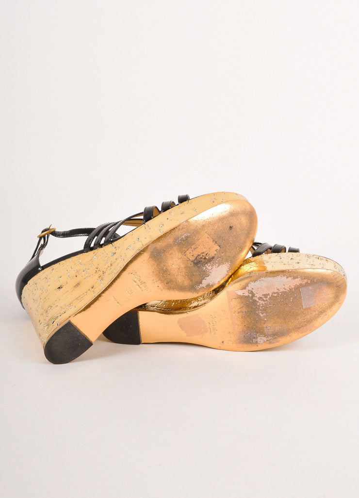 Yves Saint Laurent Black Gold Patent Leather Strappy Cork Wedge Sandals