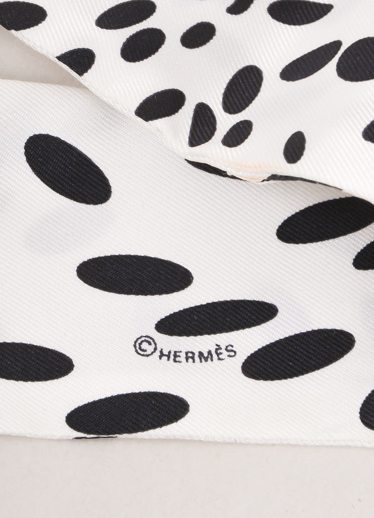 White and Black Silk Spotted Print Twilly Scarf