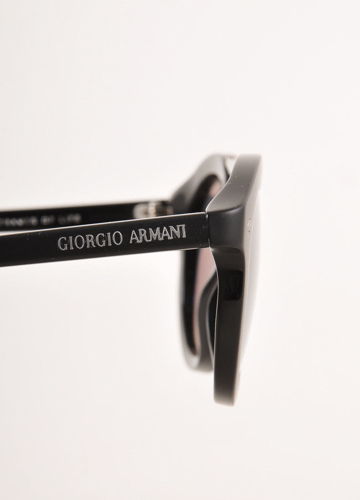 Black Round Sunglasses With Silver Toned Details