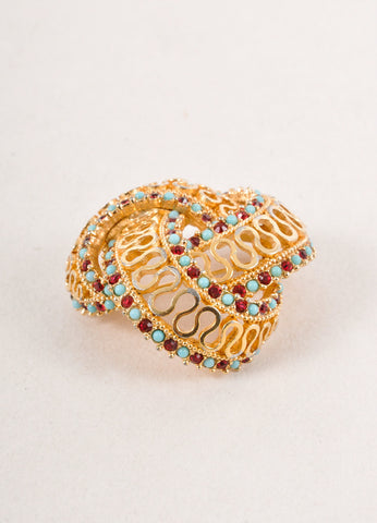 Gold Toned, Blue, and Red Rhinestone Embellished Filigree Knot Pin