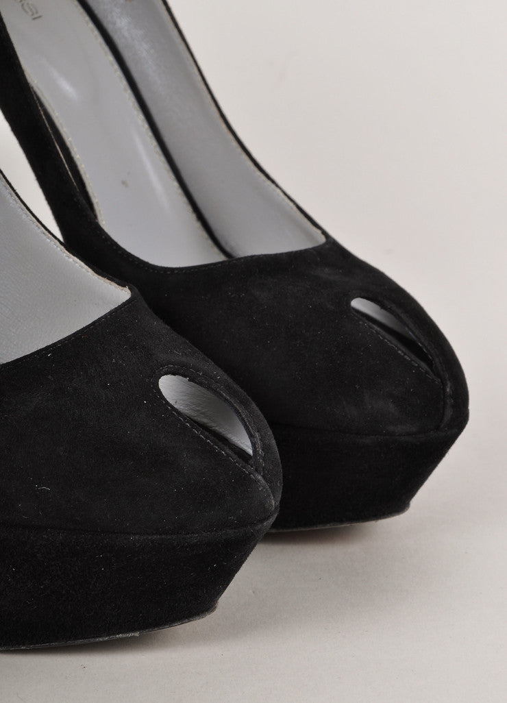 Black Suede Peep Toe Stiletto Pumps