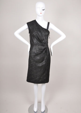 New With Tags Black and White Lattice Tweed Asymmetric Strap Sheath Dress
