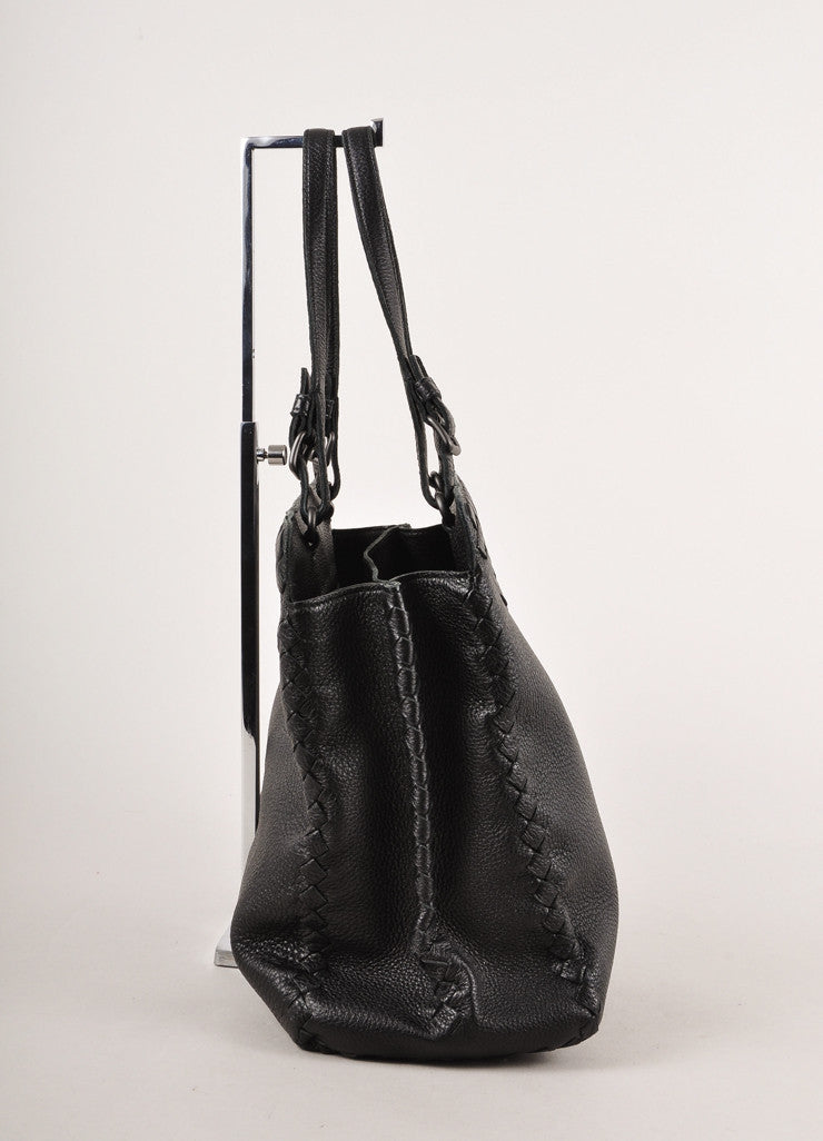 Black Leather Woven Detail Tote Bag