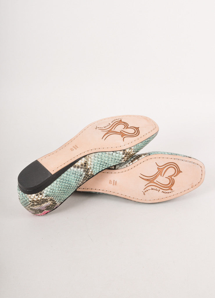 Teal, Black, and Pink Snakeskin Leather Flats