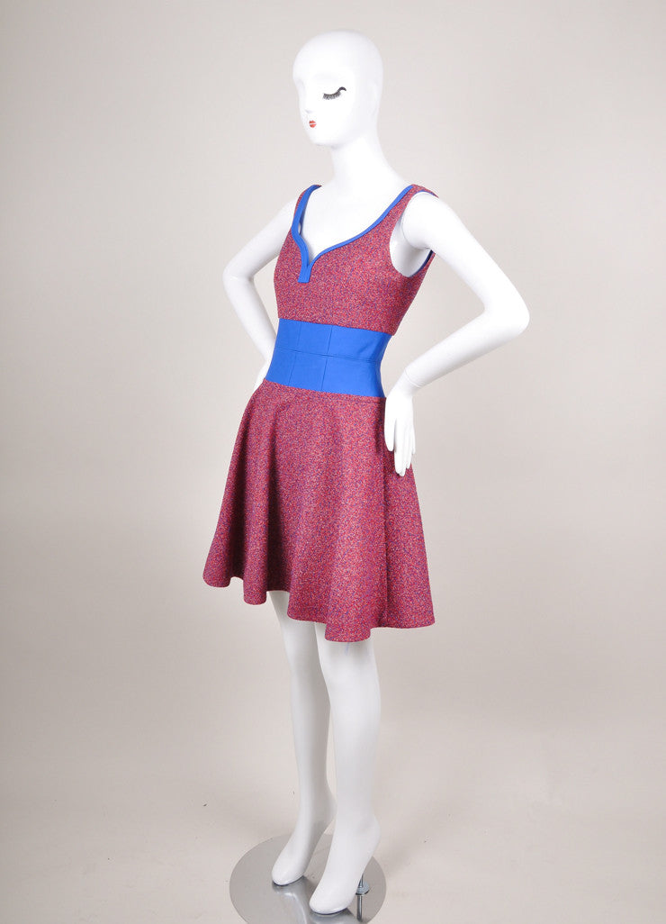 New With Tags Red and Blue Flecked Tweed Sleeveless Sweetheart Dress