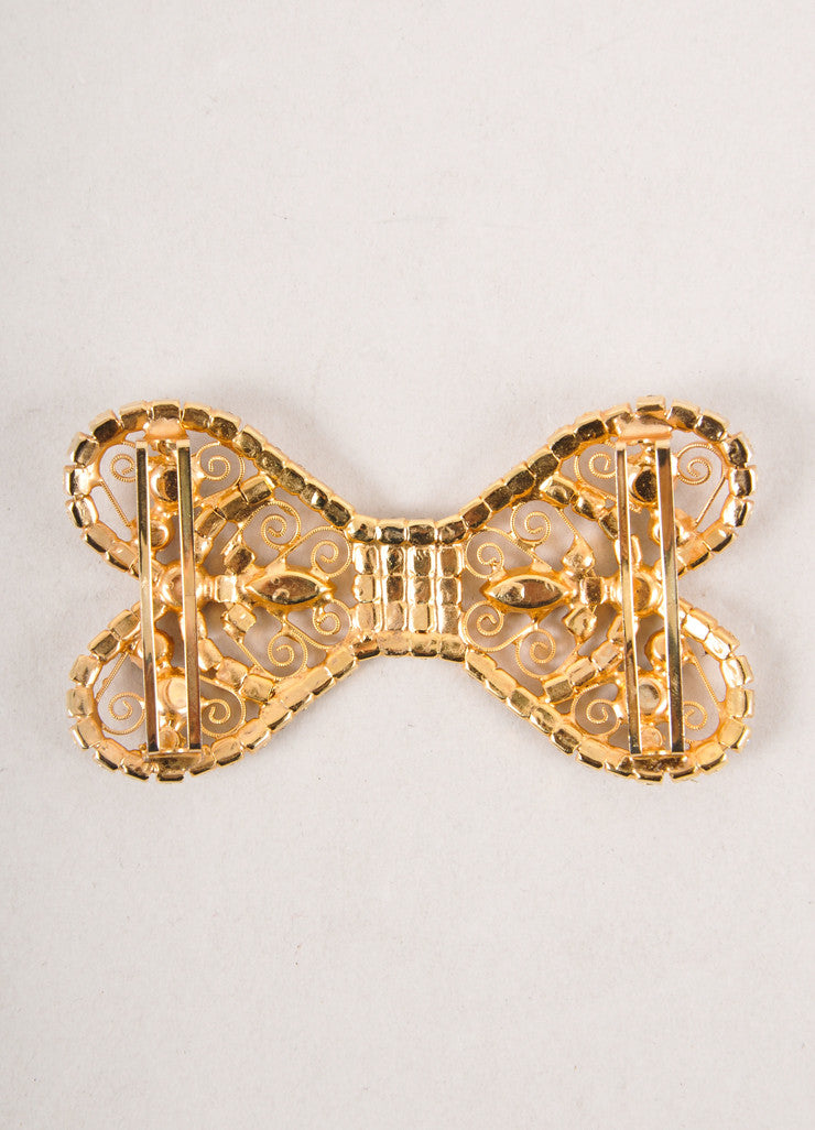 Gold Toned, Blue, and Clear Rhinestone Embellished Bow Belt Buckle