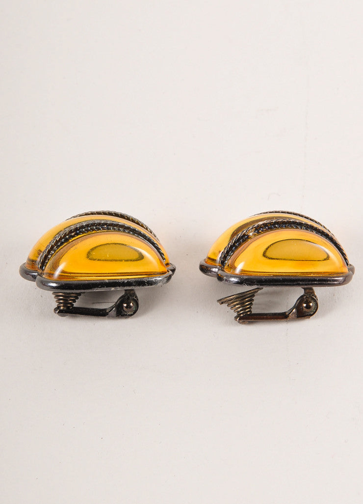 Yves Saint Laurent Citrine and Chrome Toned Shell Earrings Sideview