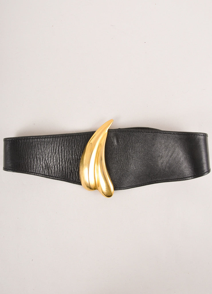 Black Leather and Gold Toned Heart Buckle Wide Belt